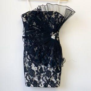 Marchesa Notte lace fan cocktail dress